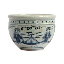 Meridian | Blue and White Porcelain Pot - Bridge