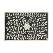 Meridian | Bone Inlay Box - Black Floral