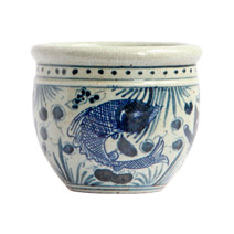Meridian | Blue and White Porcelain Pot - Fish