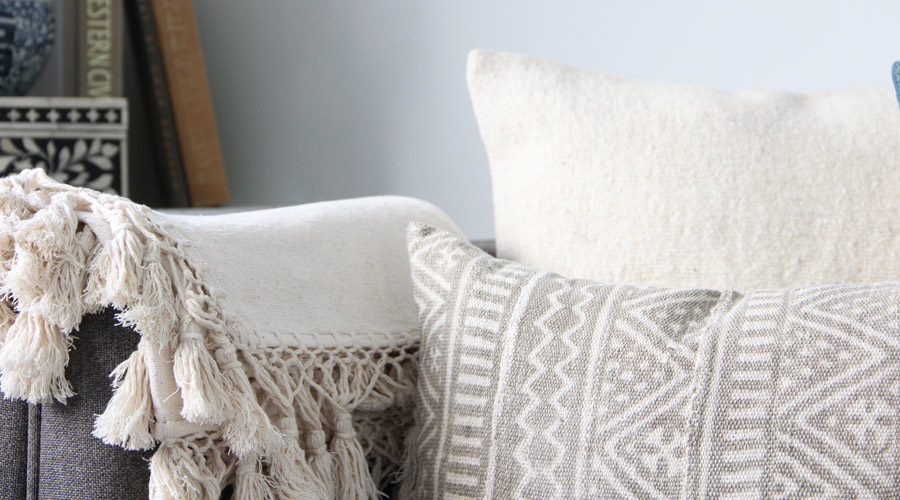 Meridian | Cotton Throw Blanket featuring hand-tied fringe
