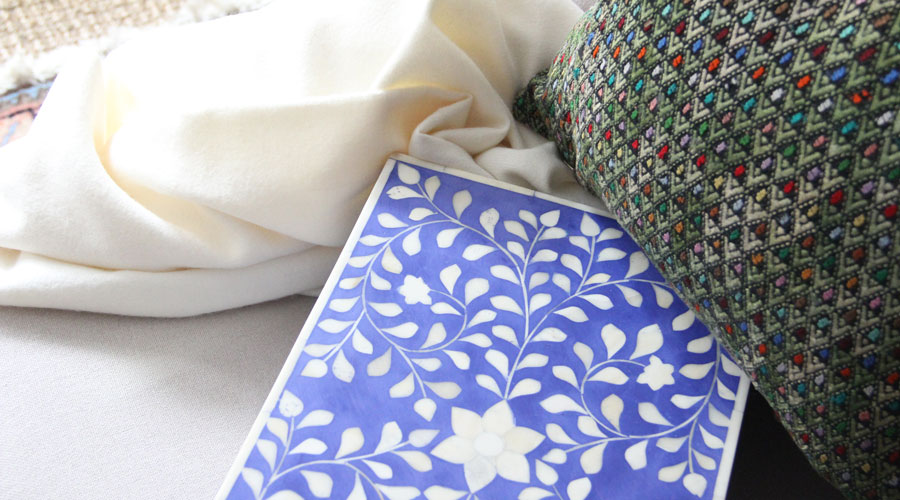 Meridian | Huipil Pillow, Bone Inlay Box, and Baby Alpaca Throw Blanket