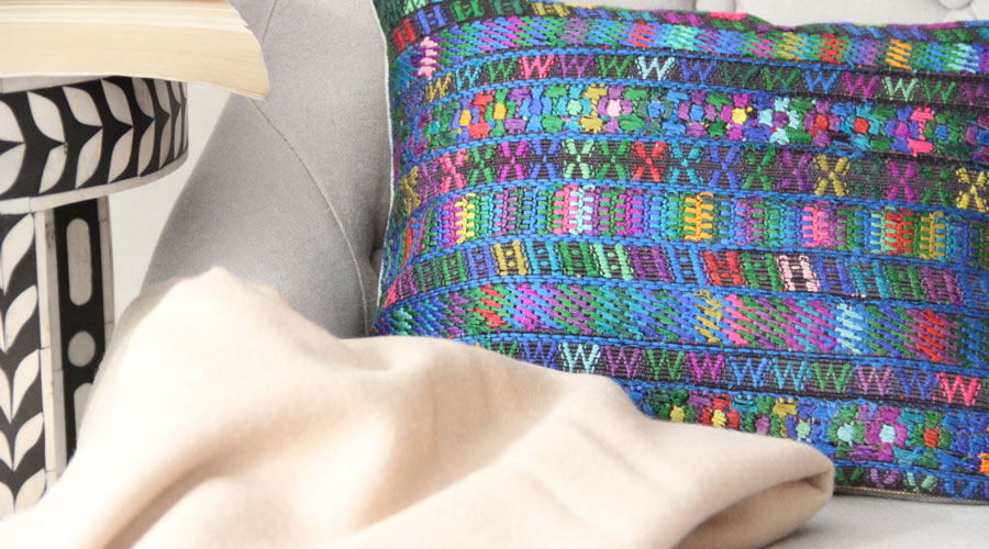 Meridian | Baby Alpaca Blanket and Huipil Pillow