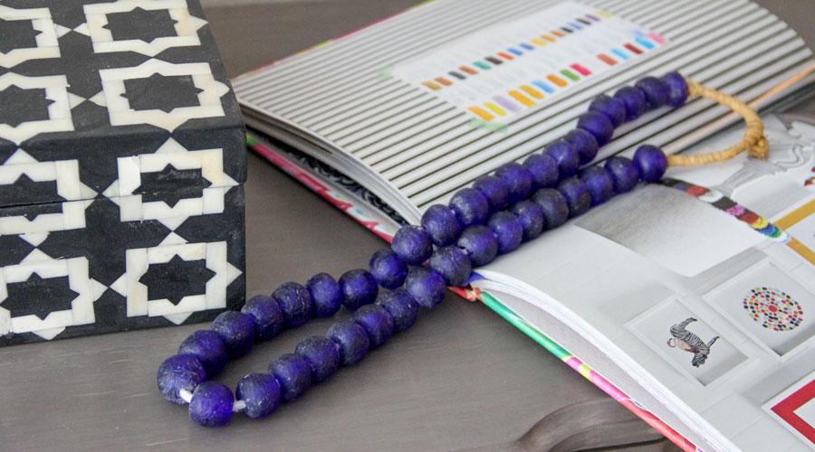 Meridian | Bone Inlay Box and Recycled Glass Bead Strand