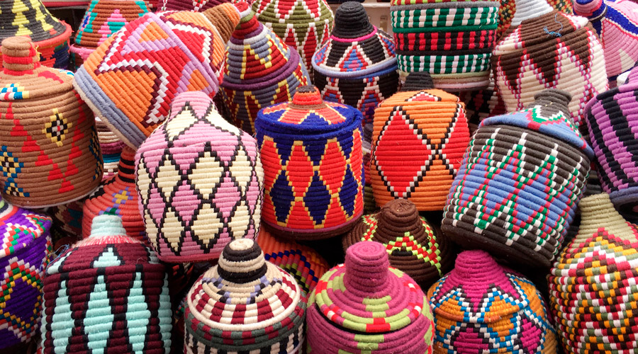 Meridian | Baskets in the Marrakech, Morocco souk.