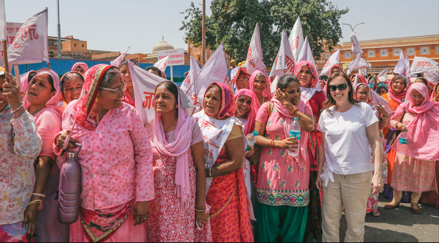 Meridian | Meridian Founder Ashley Viola stands with a women's march in Jaipur, Rajasthan, India.