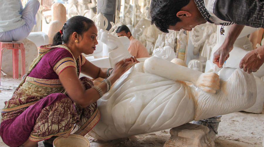 Meridian | Marble carving finishing touches in Rajasthan, India.