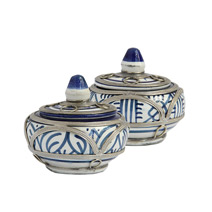 Meridian | Blue and White Ceramic Fez Pots
