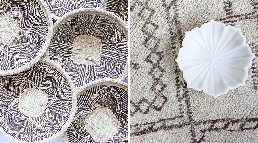 Meridian | Woven Palm Baskets and Marble Bowl