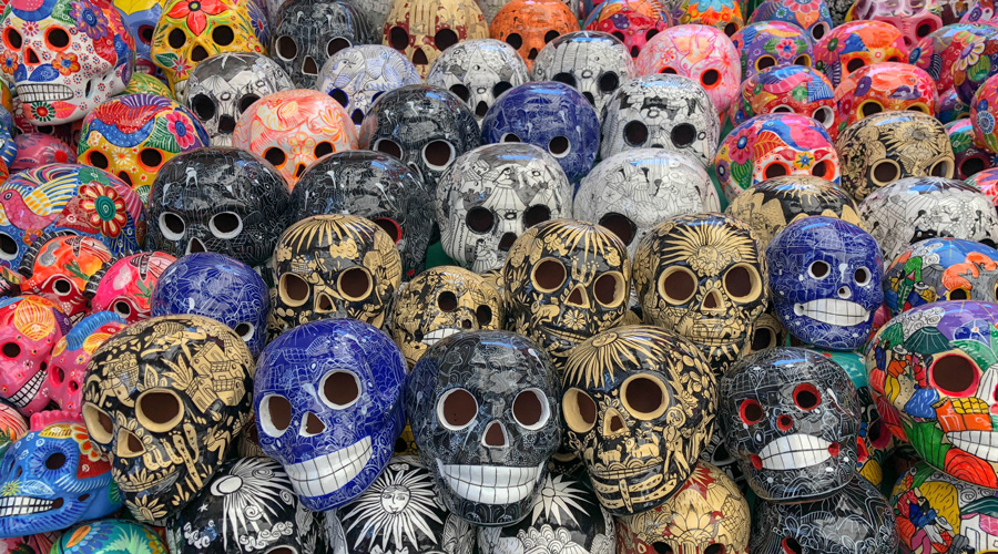 Meridian | Hand-painted skull iconography is a popular souvenir in Mexico.