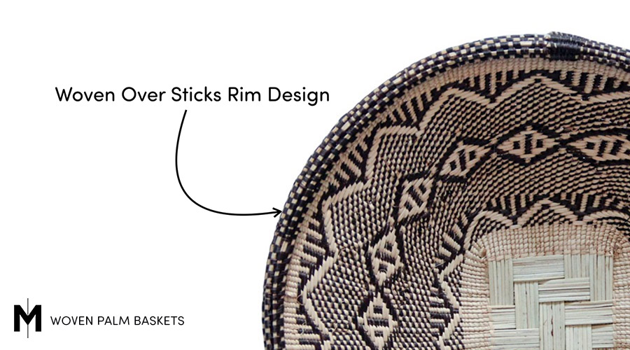 Meridian | An alternate basket rim style uses strips of ilala leaves woven over twigs.