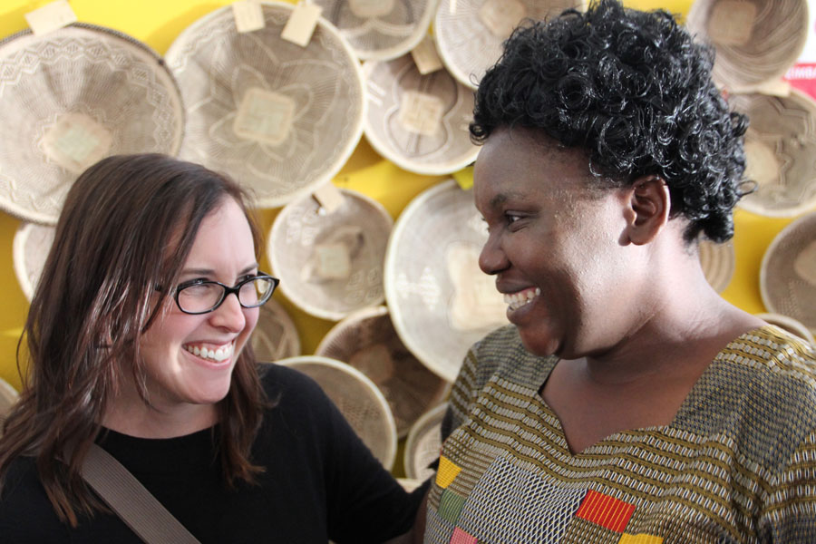 Meridian Founder Ashley Viola meets with one of the members of our basket weaving cooperative from Zimbabwe.