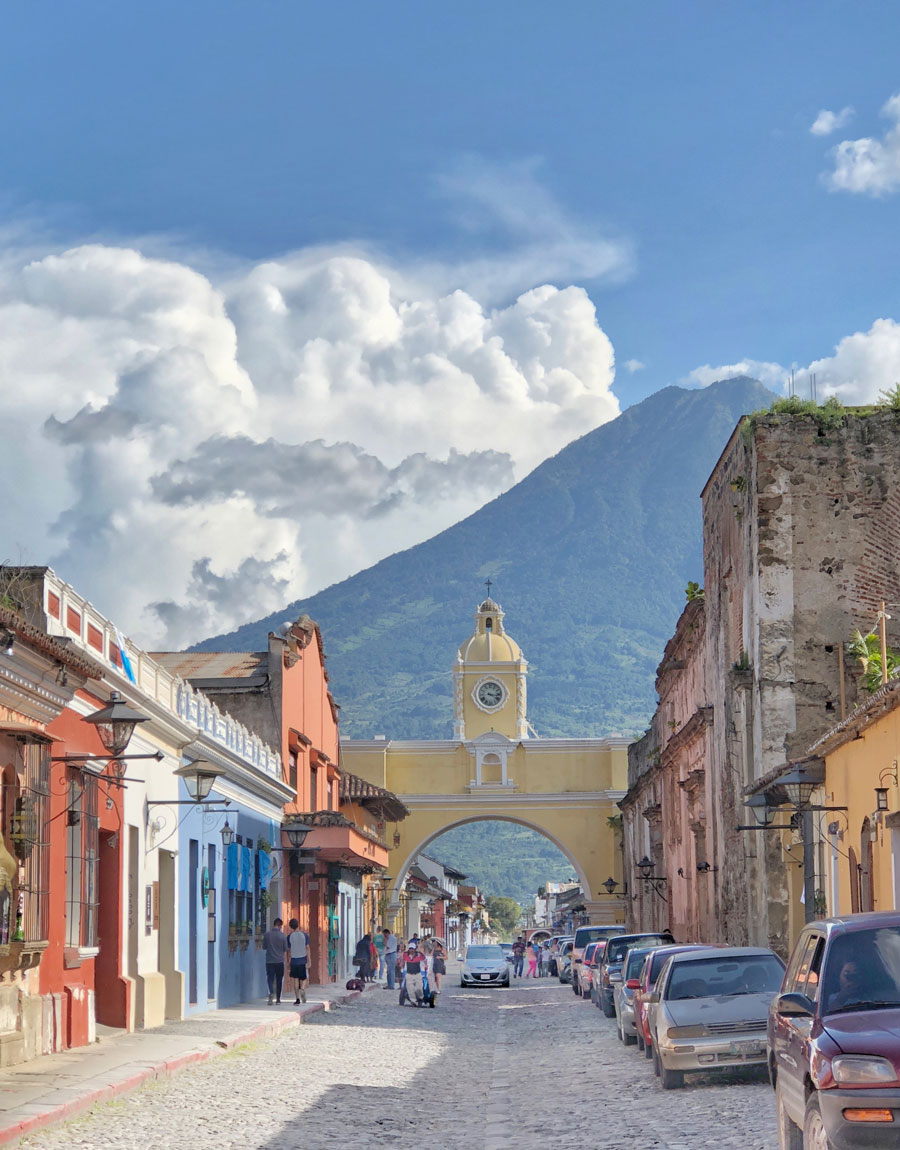 Meridian | The small town of Antigua, Guatemala is nestled at the base of a massive volcano.