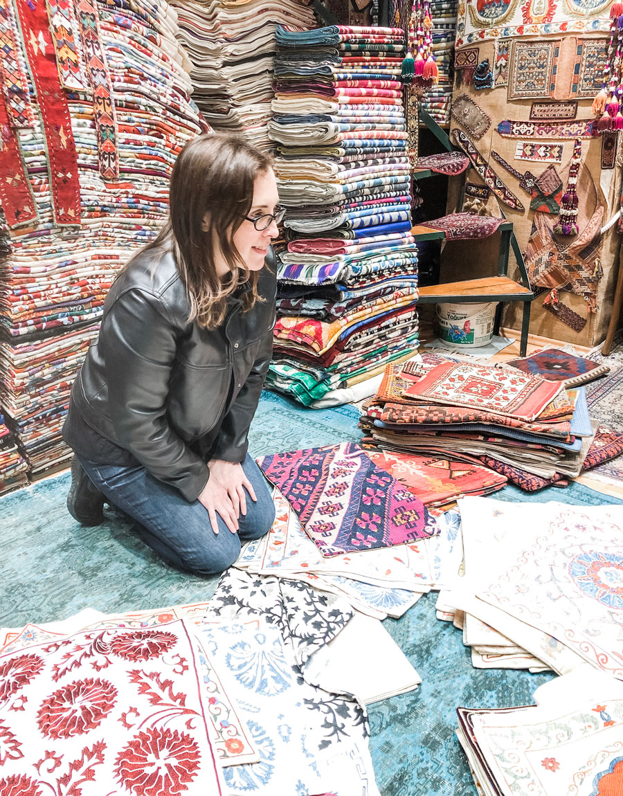 Meridian Founder Ashley Viola shops for textiles in Istanbul's Grand Bazaar.