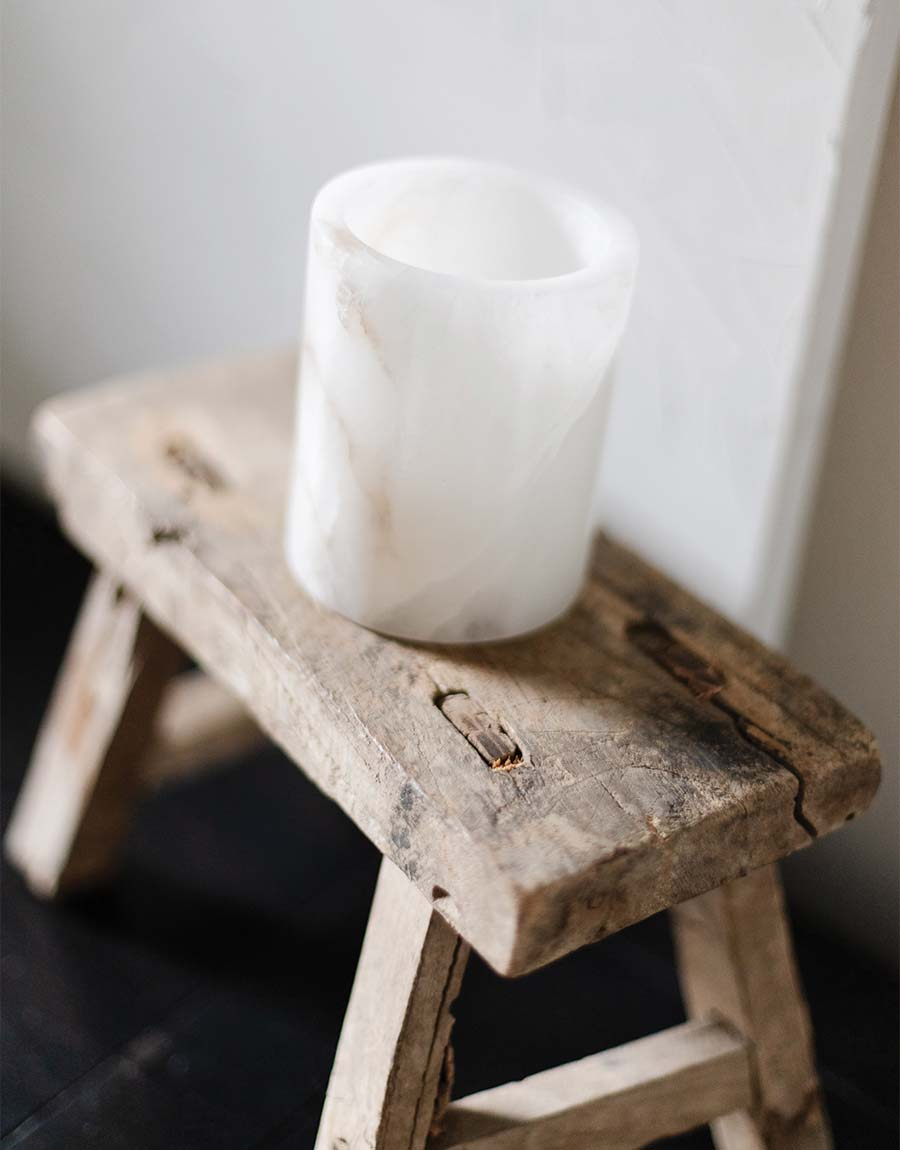Aurora Candle Holder on the Vintage Elm Stool - fall home decor