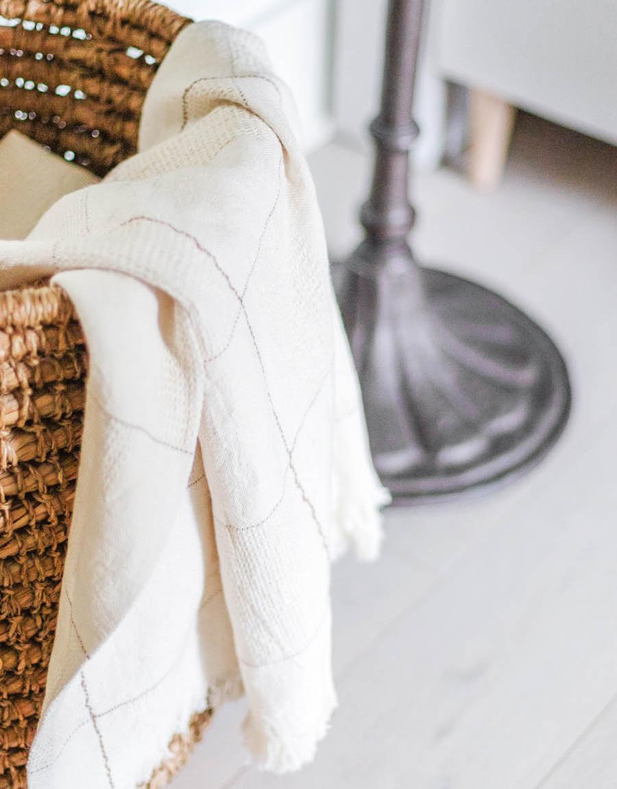 Naz Linen Blanket in a Wicker Basket -- fall home decor
