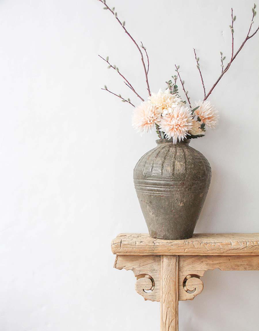 Vintage Mijiu Jar VIII with flowers - fall home decor