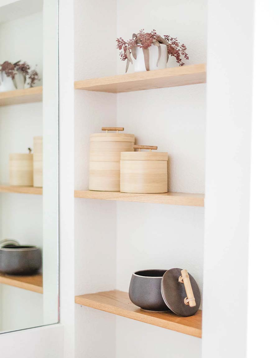 Keep your counter clutter free with these bamboo storage containers for your self care routine